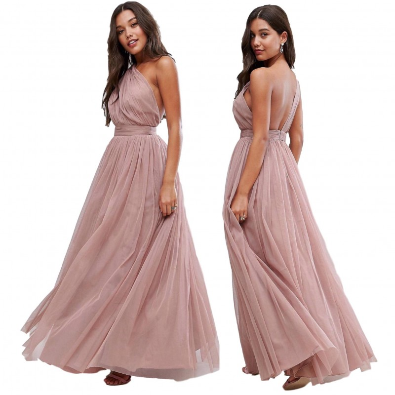 6620bed6270 ex ASOS Premium Mink Pink Tulle One Shoulder Maxi Dress