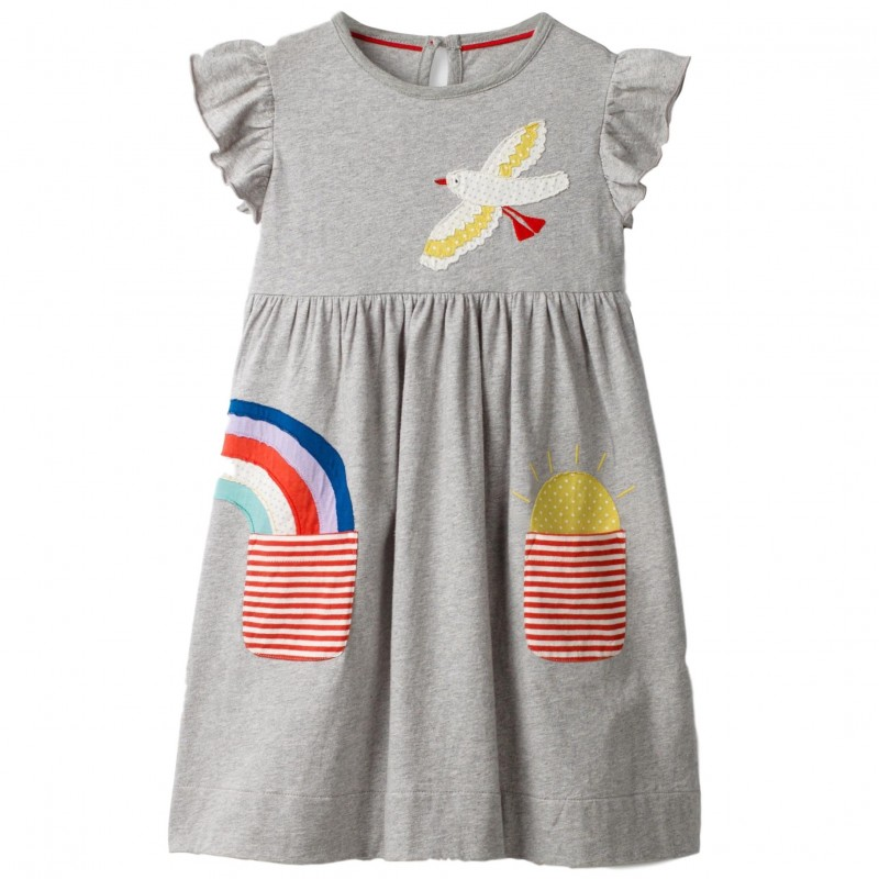 070a68a86 ex Mini Boden Grey Marl Appliqué Pocket Dress